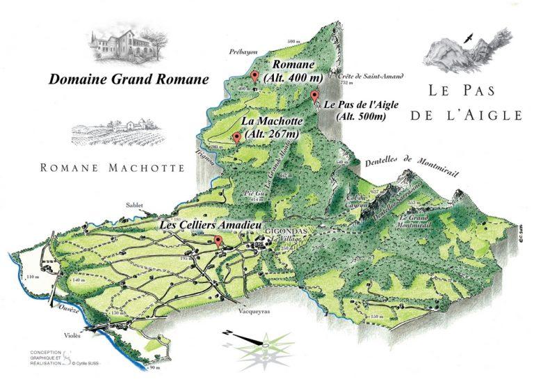 carte relief Gigondas Pierre Amadieu