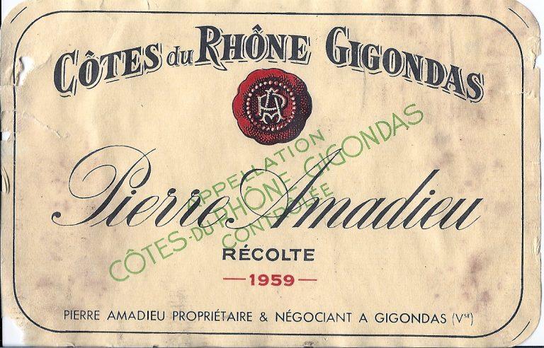 Etiq Pamadieu Gigondas 1959